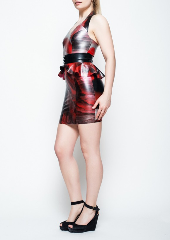 Yummy Gummy Latex Red marble halter dress with peplum belt