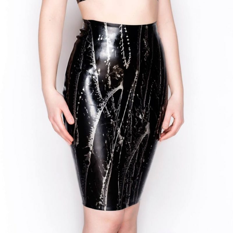 Black with silver lines latex pencil skirt