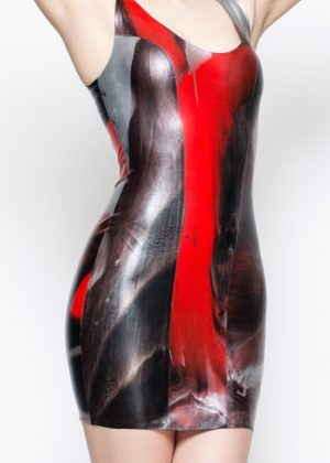 Yummy Gummy Latex Red marble short dress