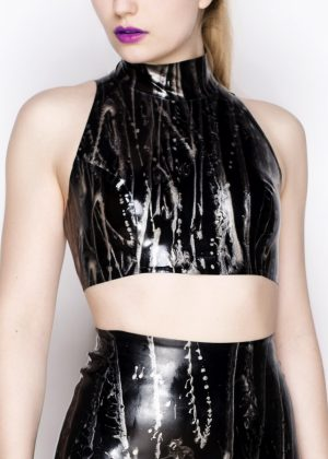 Black with silver marbled latex high necked crop top