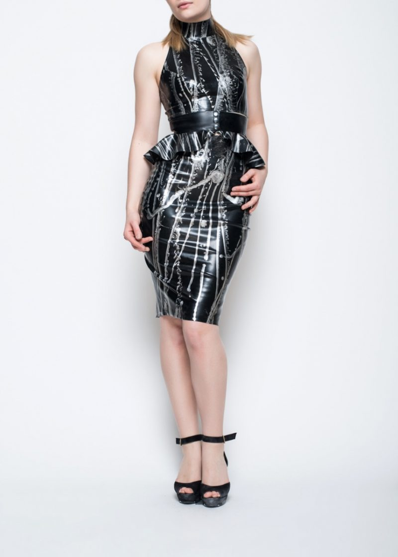 Yummy Gummy Latex pencil skirt and High neck crop top with peplum belt in black marble