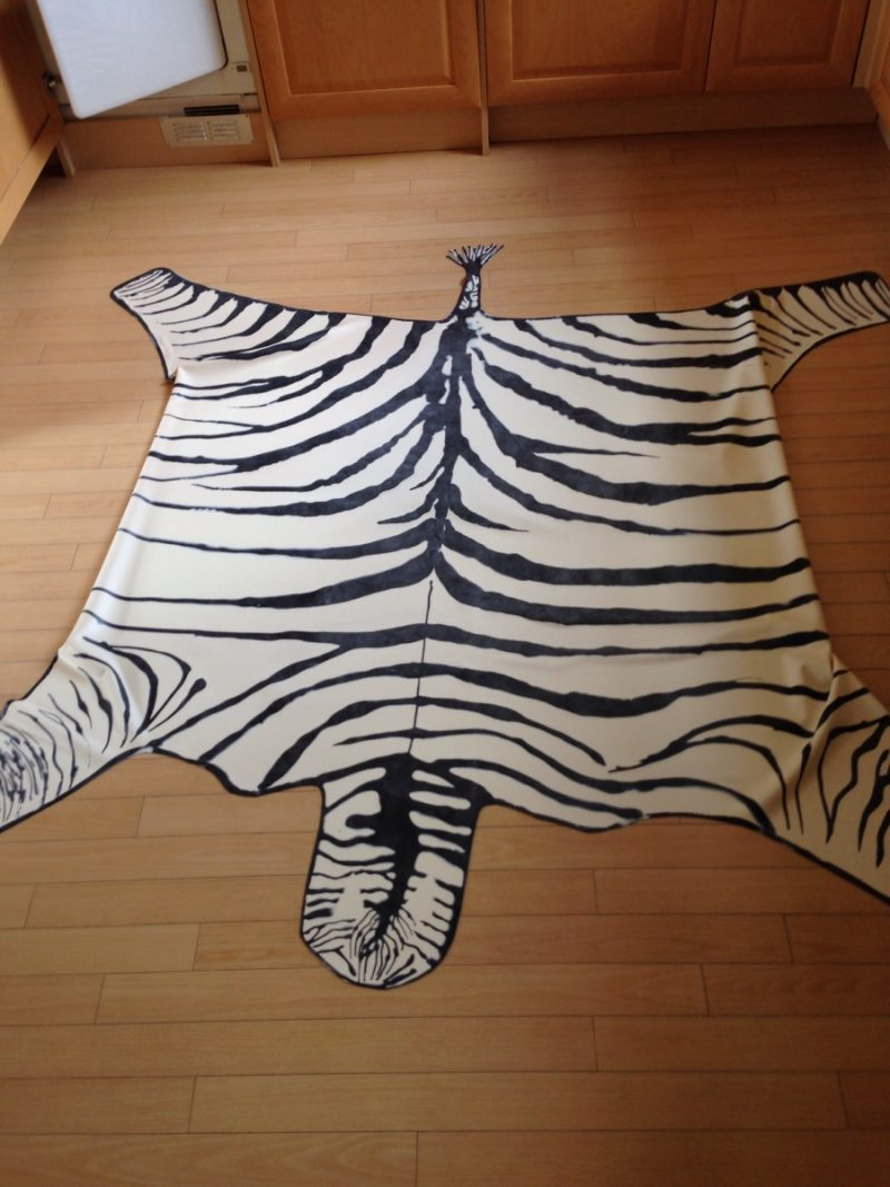 Yummy Gummy Black and White Zebra patterned latex rug