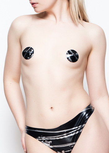 Yummy Gummy Latex black and silver lines thong and pasties