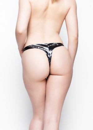 Yummy Gummy Latex black and silver lines thong