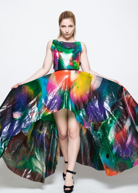 Yummy Gummy Latex Rainbow marble ball gown