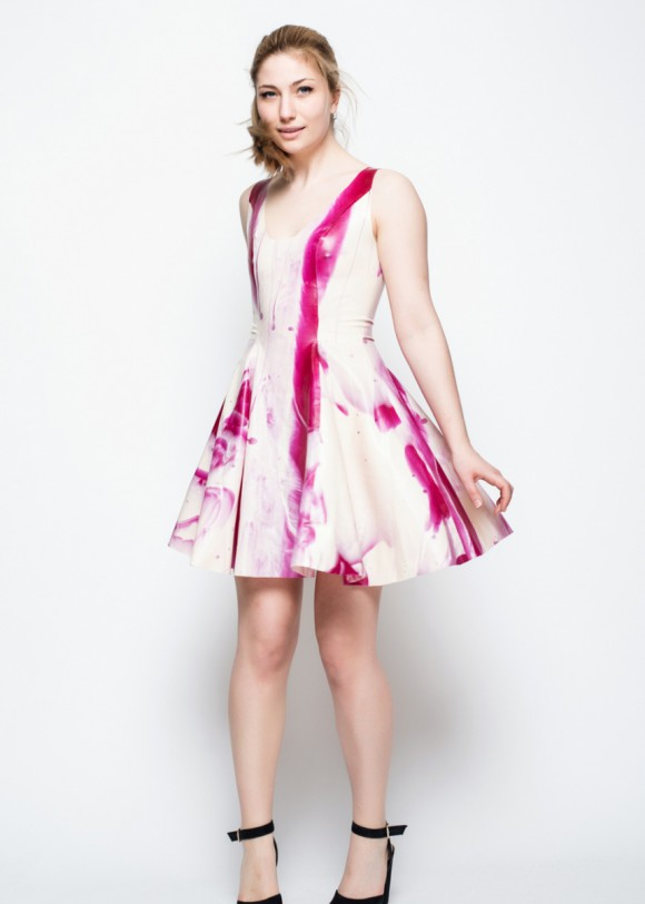 Yummy Gummy Latex white and magenta stripe marble latex swing skate dress