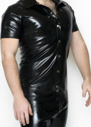 Yummy Gummy Latex Polo shirt in Black rainbow glitter