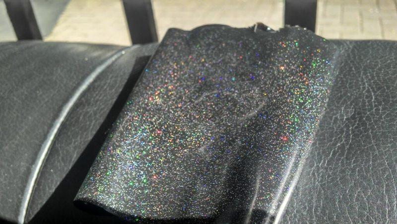 Yummy Gummy rainbow glitter latex in black latexYummy Gummy rainbow glitter latex in black latex