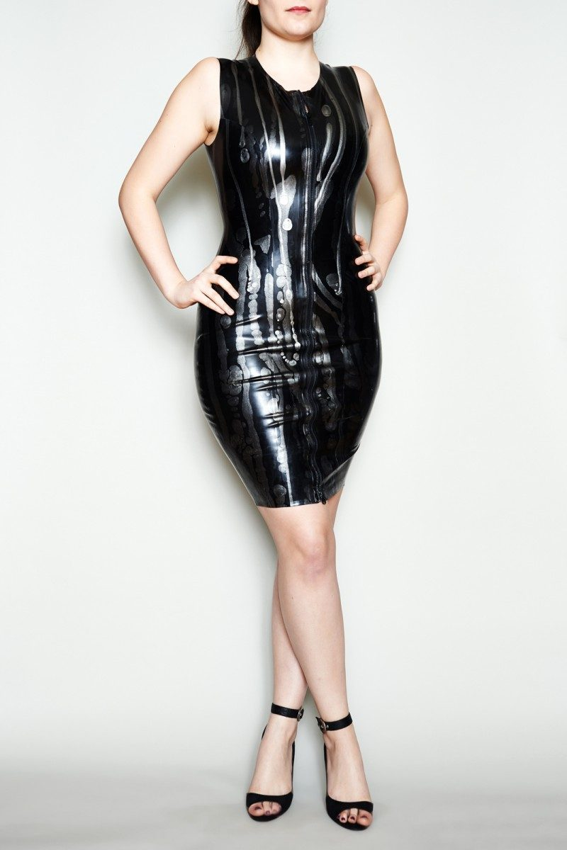 Yummy Gummy Latex Zip Front Dress in black and silver