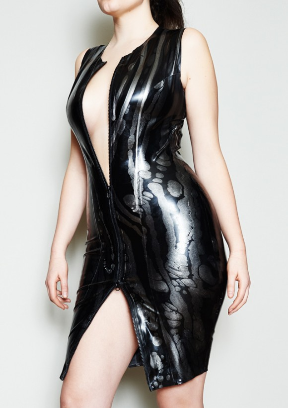 Yummy Gummy Latex Zip front Pencil dress in black and silver lines