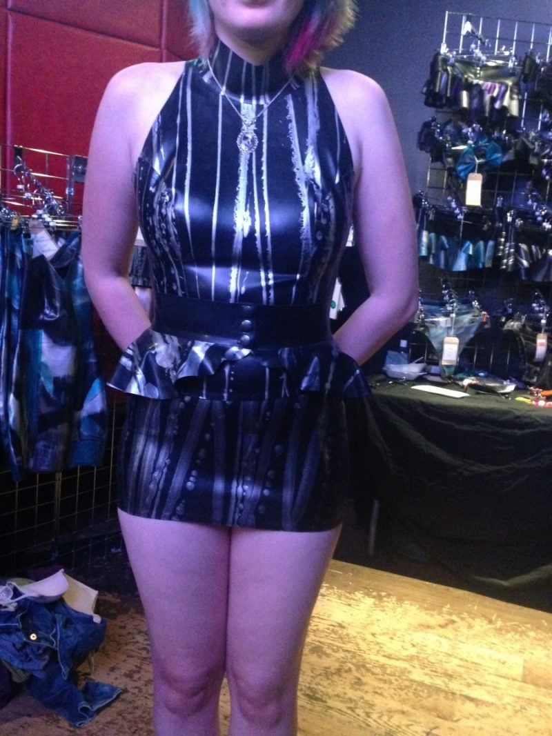 Yummy Gummy Latex, Micro mini skirt, Peplum belt and high neck top in black with silver lines marble