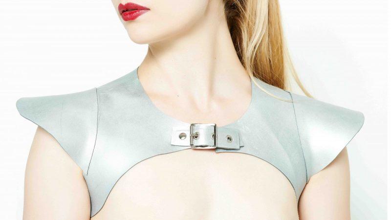 aYummy Gummy Latex Cap sleeve Harness in silver