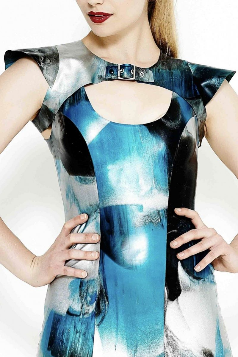 Yummy Gummy Latex cap sleeve harness in blue marble