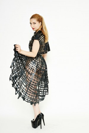 Net Latex Dip Hem Circle Skirt Yummy Gummy