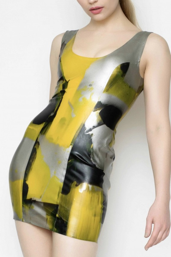 Yummy Gummy Latex Yellow marble short dress