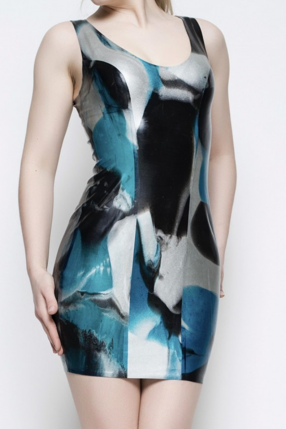 Yummy Gummy Latex Blue marble short dress