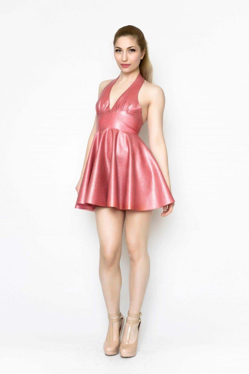 Yummy Gummy latex, Pleated halter dress in pink glitter