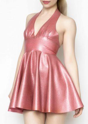 Yummy Gummy Latex Pleated halter circle dress in Dusty Pink glitter