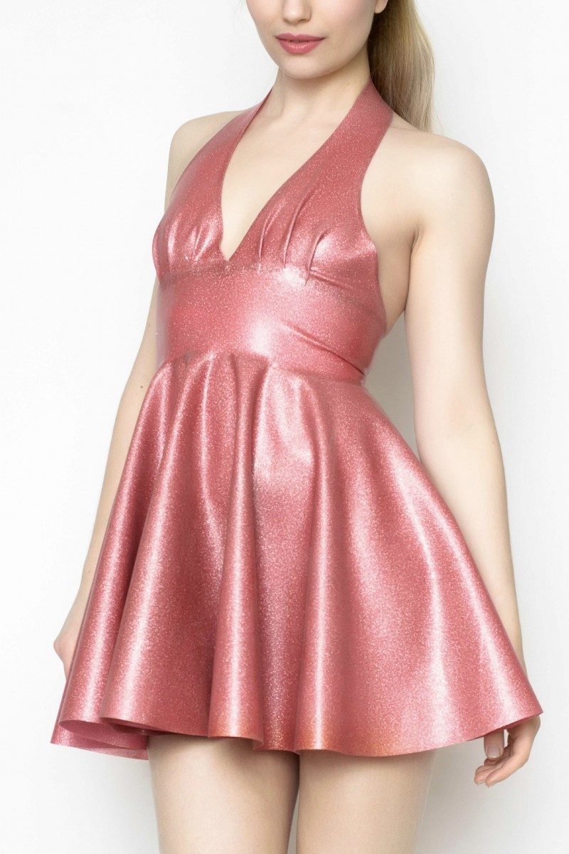 Yummy Gummy Latex Pleated halter circle dress in Dusty Pink glitter