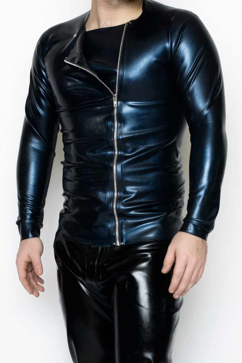 Yummy Gummy Latex Mens Side Zip Long Sleeve shirt in blue pearl
