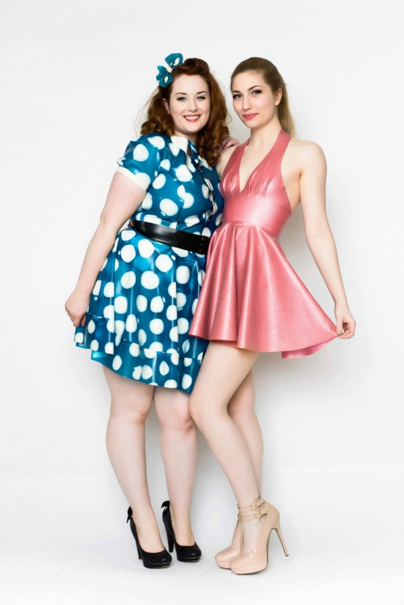 Yummy Gummy latex, Pleated halter dress in pink glitter and blue polka dot short sleeve blouse, bow belt and bell bottom skirt