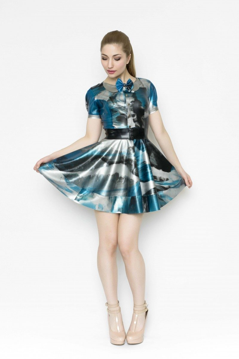 Yummy Gummy Latex, short sleeve blouse and bell bottom skirt with bow belt in blue marble