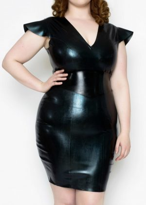 Yummy Gummy Latex Cap Sleeve Dress in Petrol Colour Change