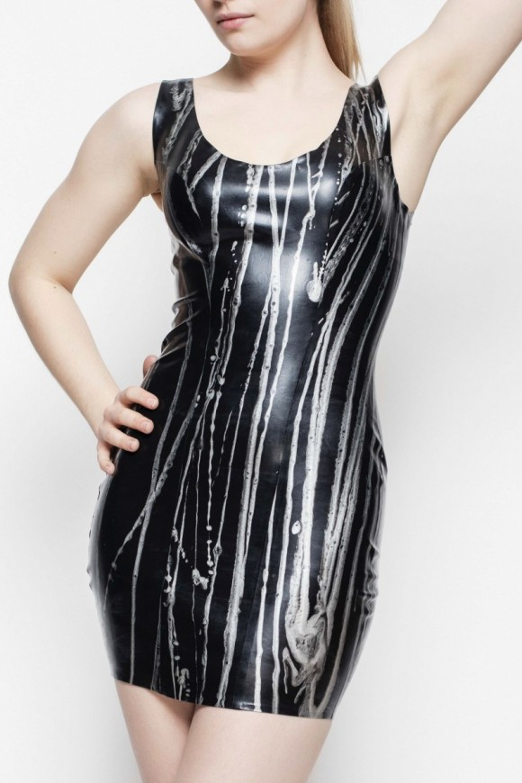 Yummy Gummy Latex black with silver lines short dress