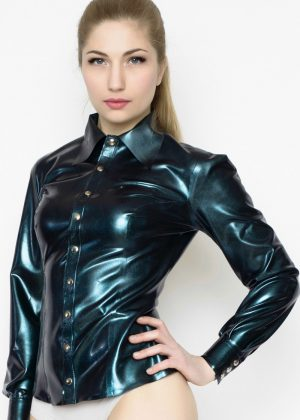 Yummy Gummy Latex Petrol colour change long sleeve blouse