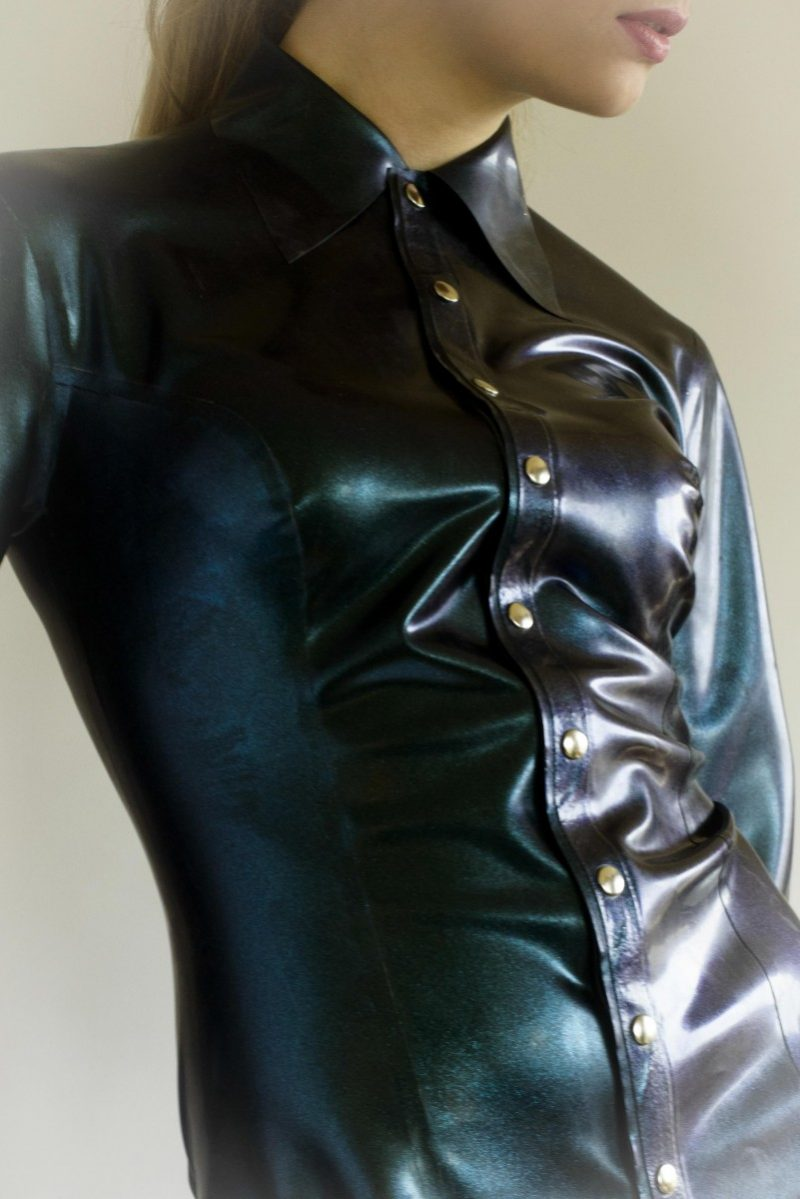 Yummy Gummy Latex Long sleeve Blouse in Petrol Colour Change in natural lighting