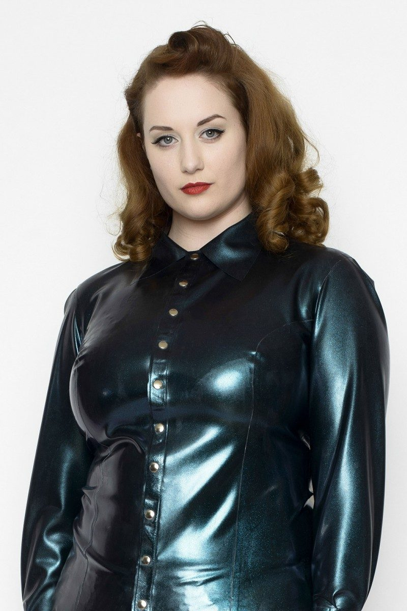 Yummy Gummy Latex Long sleeve Blouse in Petrol Colour Change