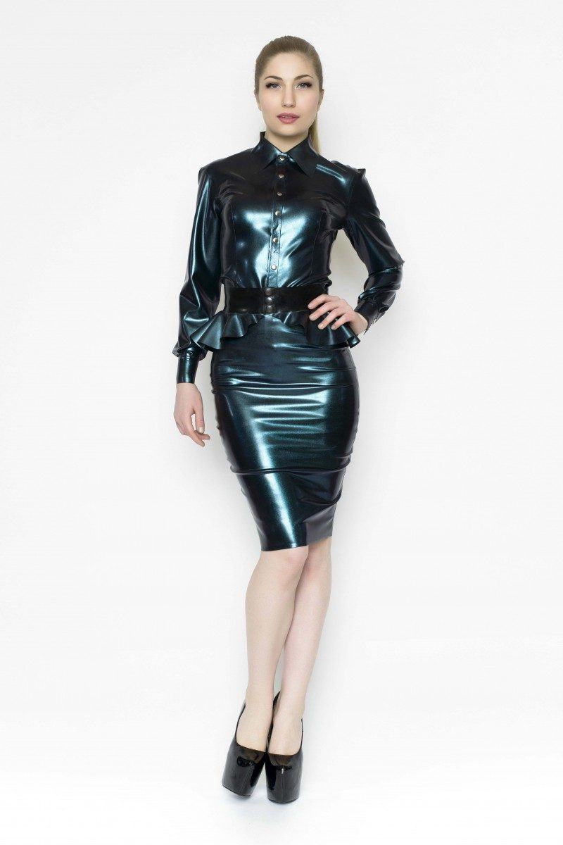 Yummy Gummy Latex Deluxe pencil skirt, Peplum belt and long sleeve blouse in Petrol Colour change