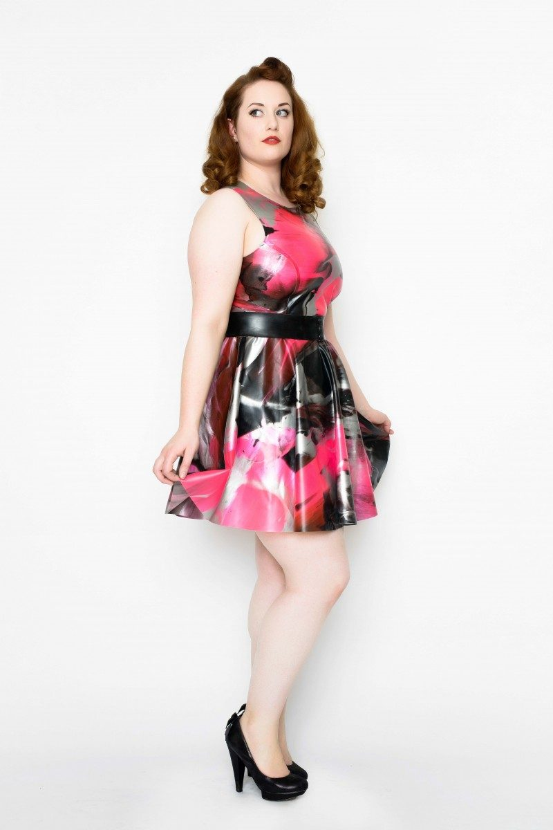 Yummy Gummy Latex heart back dress with bow belt in uv pink