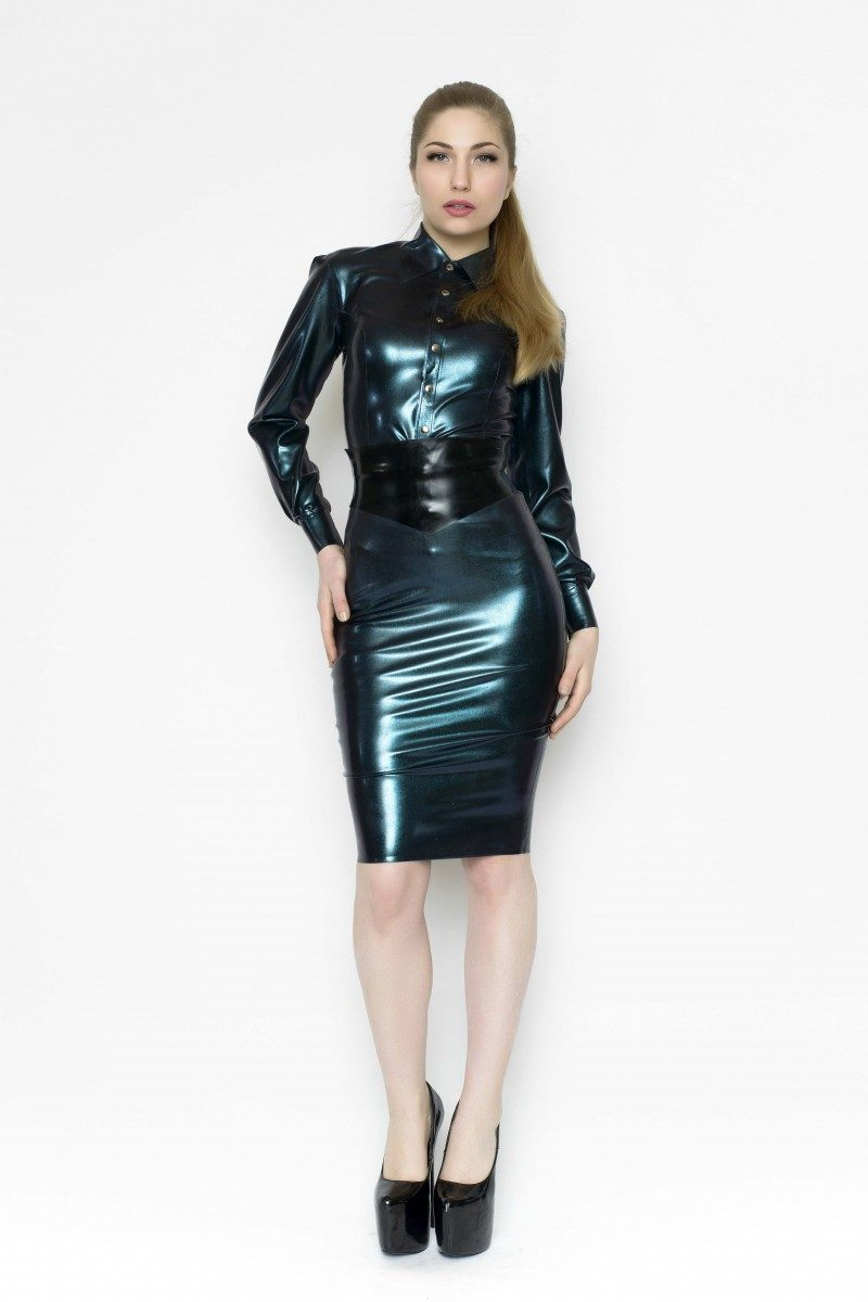 Yummy Gummy Latex Deluxe pencil skirt, wide pointed belt and long sleeve blouse in Petrol Colour change