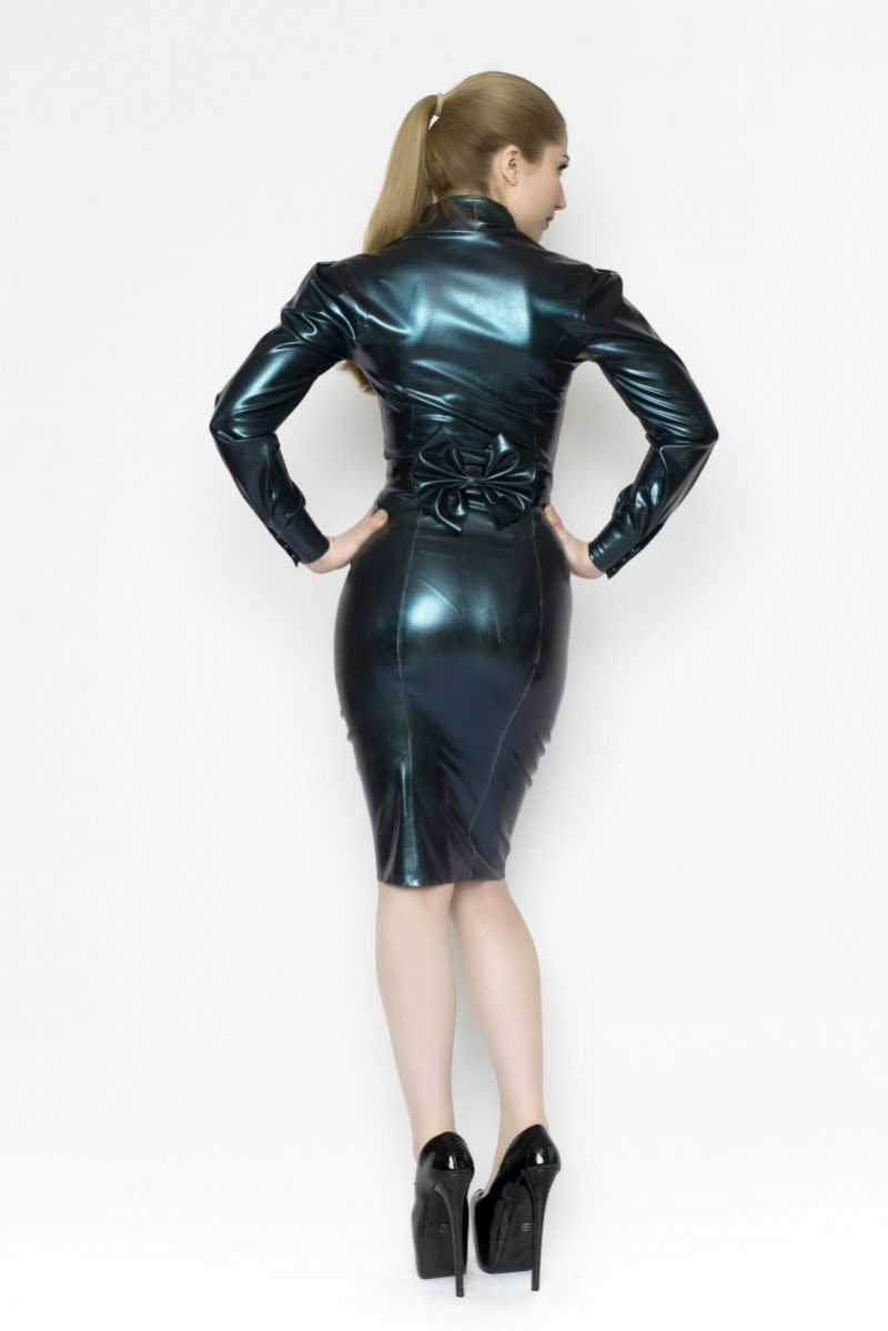 Yummy Gummy Latex Deluxe pencil skirt, bow belt and long sleeve blouse in Petrol Colour change