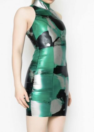 Yummy Gummy Latex High neck Dress in Green Marble