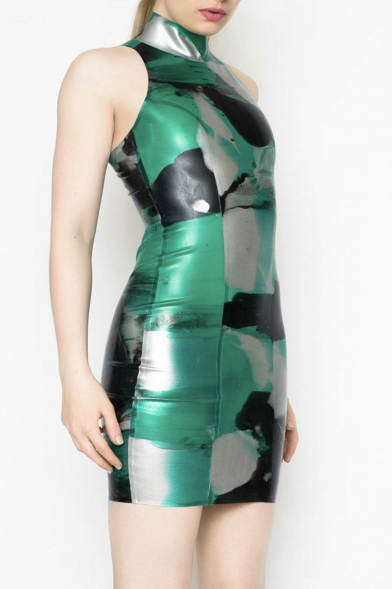 Yummy Gummy Latex High neck Dress in Green Marble