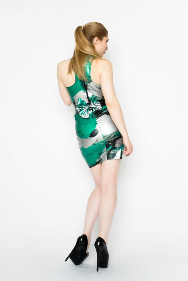 Yummy Gummy Latex High neck dress with bow belt in green marble