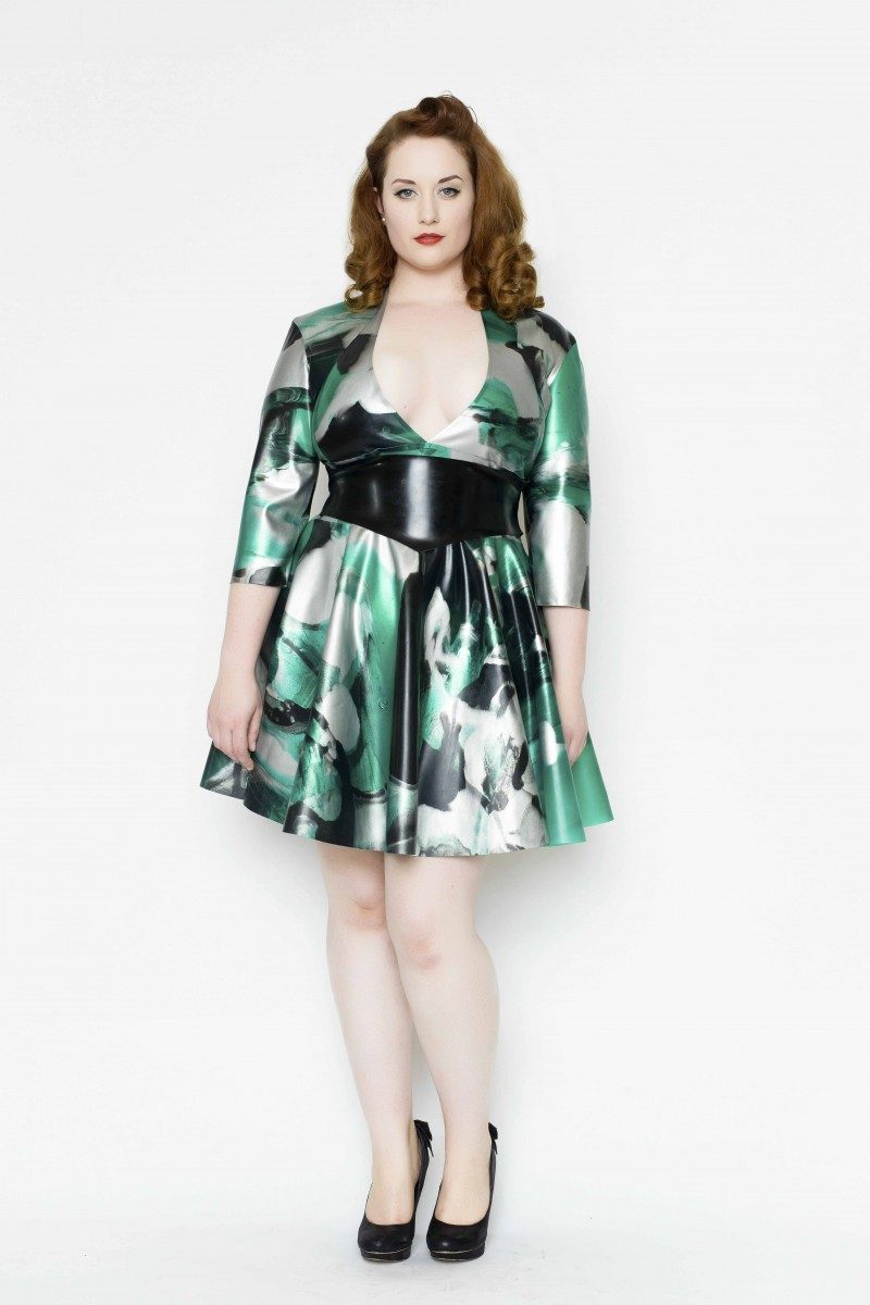 Yummy Gummy Latex Halter circle dress with wide pointed belt with matching bolero in green marble