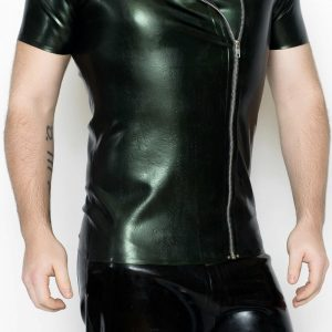 Yummy Gummy Latex Mens Side Zip short Sleeve shirt in green pearl