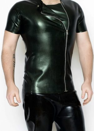 Yummy Gummy Latex Mens Side Zip short Sleeve shirt in green pearl