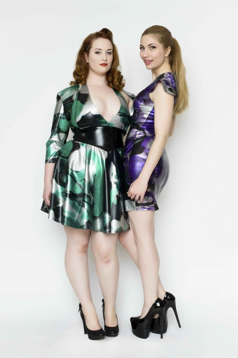 Yummy Gummy Latex Halter circle dress with wide pointed belt with matching bolero in green marble and cap sleeve dress in purple marble