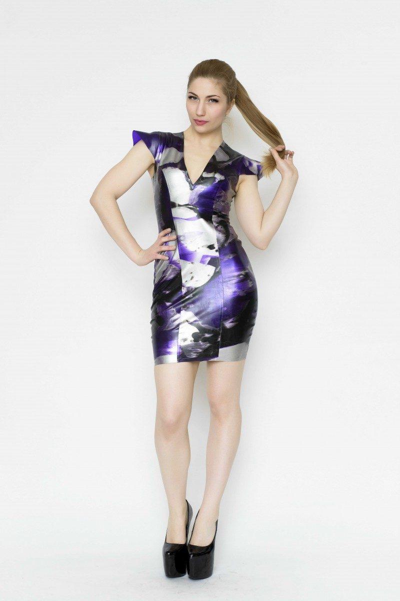 Yummy Gummy Latex Cap sleeve dress in purple marble Yummy Gummy Latex Cap sleeve dress in purple marble