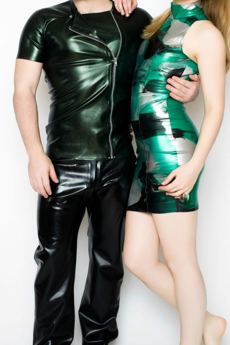 Yummy Gummy Latex Side zip shirt in green pearl and high neck dress in green marble