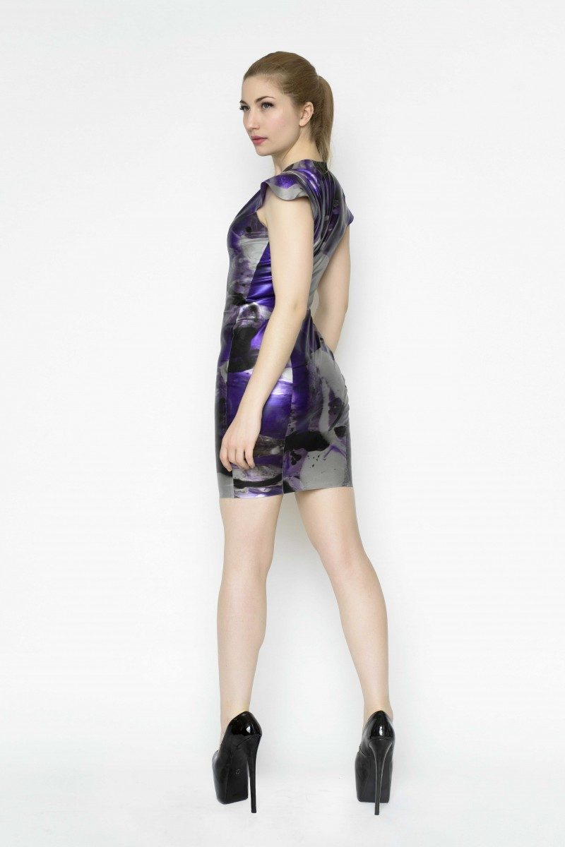 Yummy Gummy Latex Cap sleeve dress in purple marble