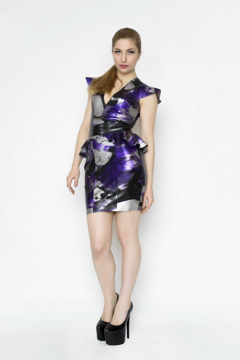 Yummy Gummy Latex Cap sleeve dress with peplum belt in purple marble
