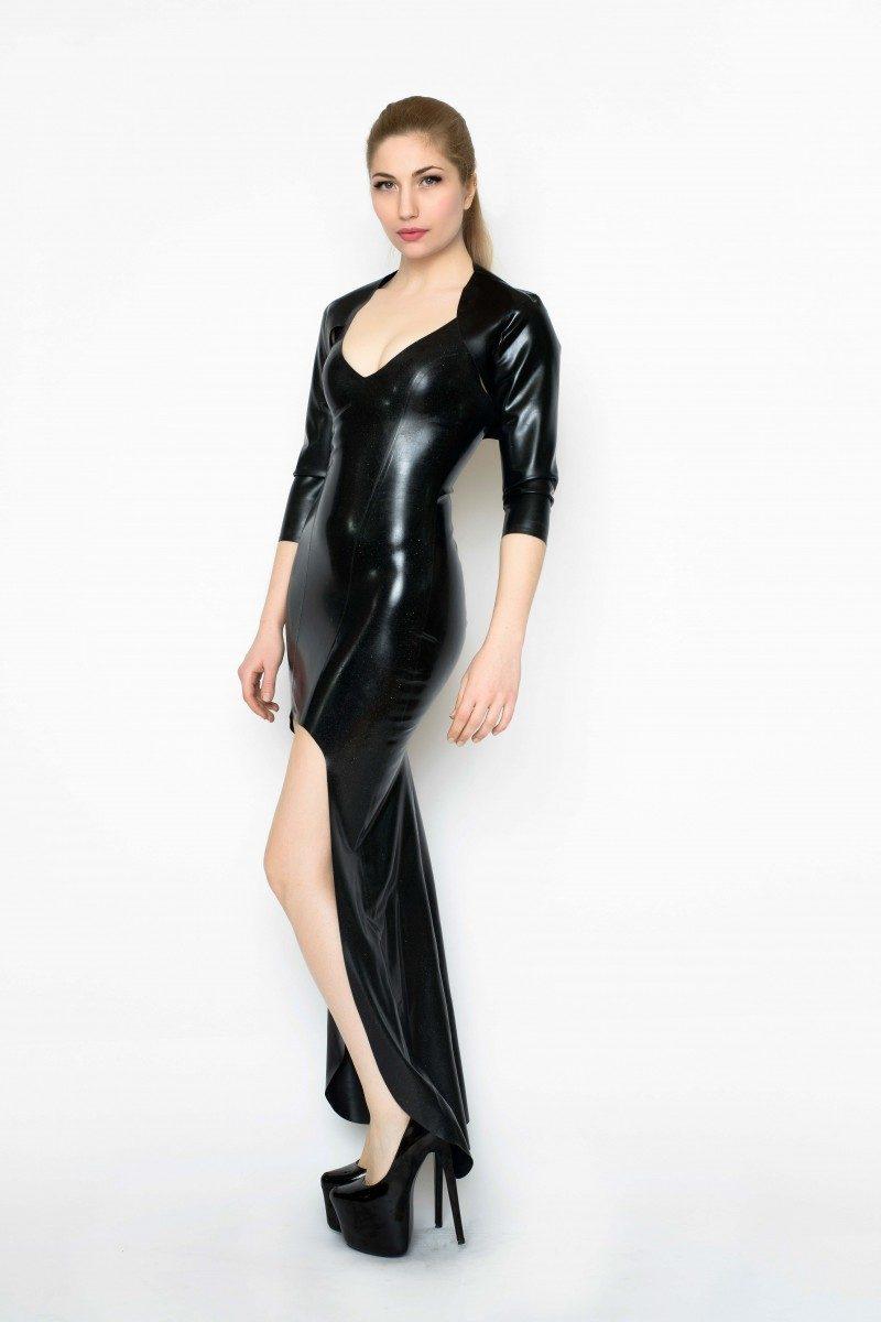 Yummy Gummy Latex Ball Gown and bolero in Black rainbow glitter