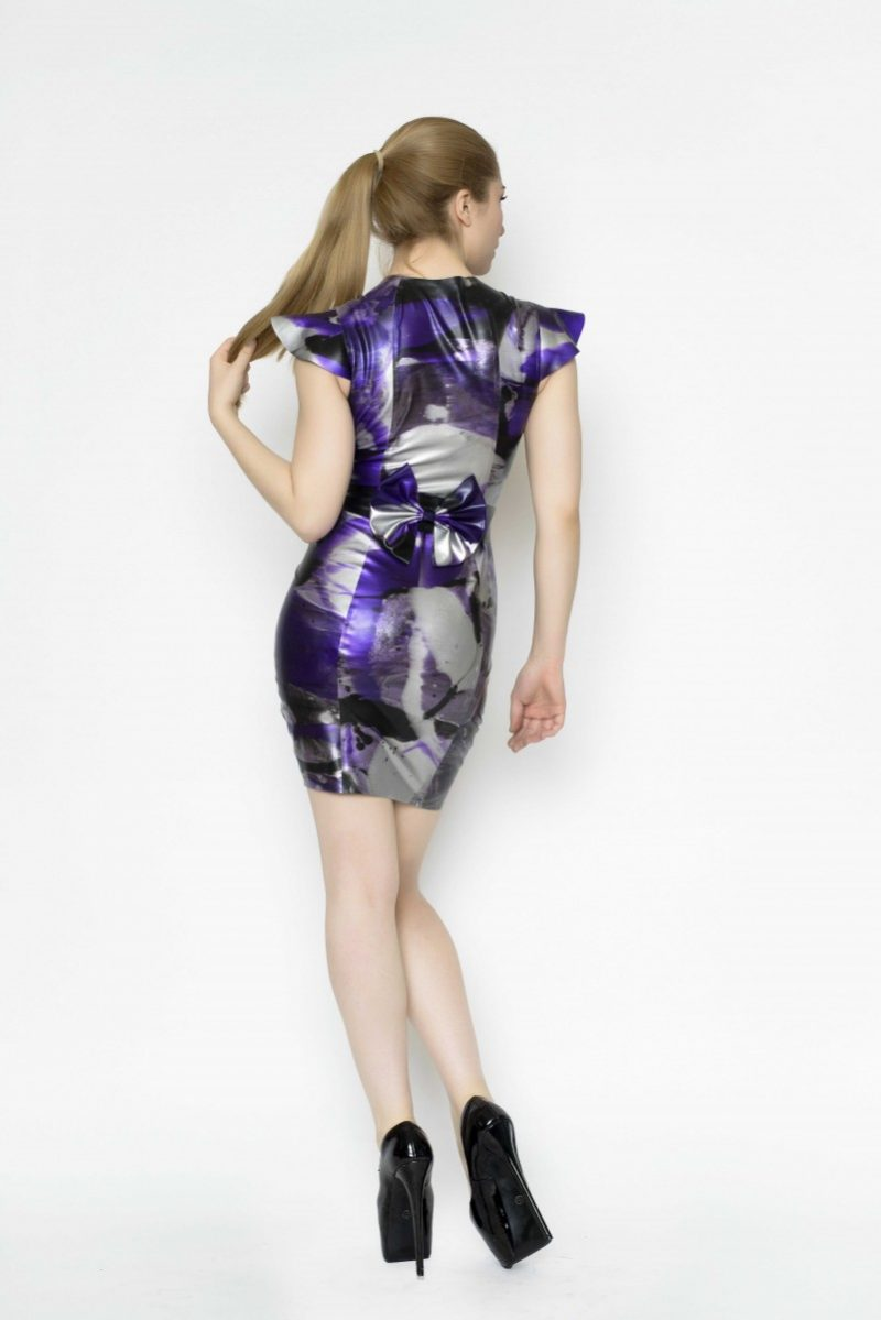 Yummy Gummy Latex Cap sleeve dress with bow belt in purple marble