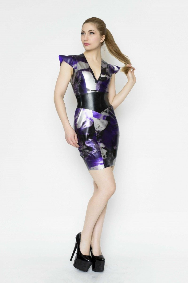 Yummy Gummy Latex Cap sleeve dress with wide pointed belt in purple marble