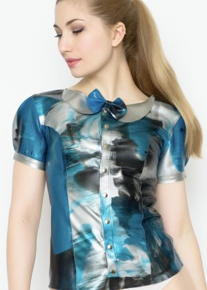 Yummy Gummy Latex Short sleeve blouse blue marble